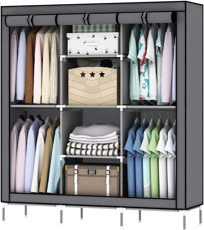 OUMYJIA 69 inches Non-Woven Fabric Wardrobe Portable Clothes Closet Storage Organizer, 51 x 17.5 x 69 inches, Grey