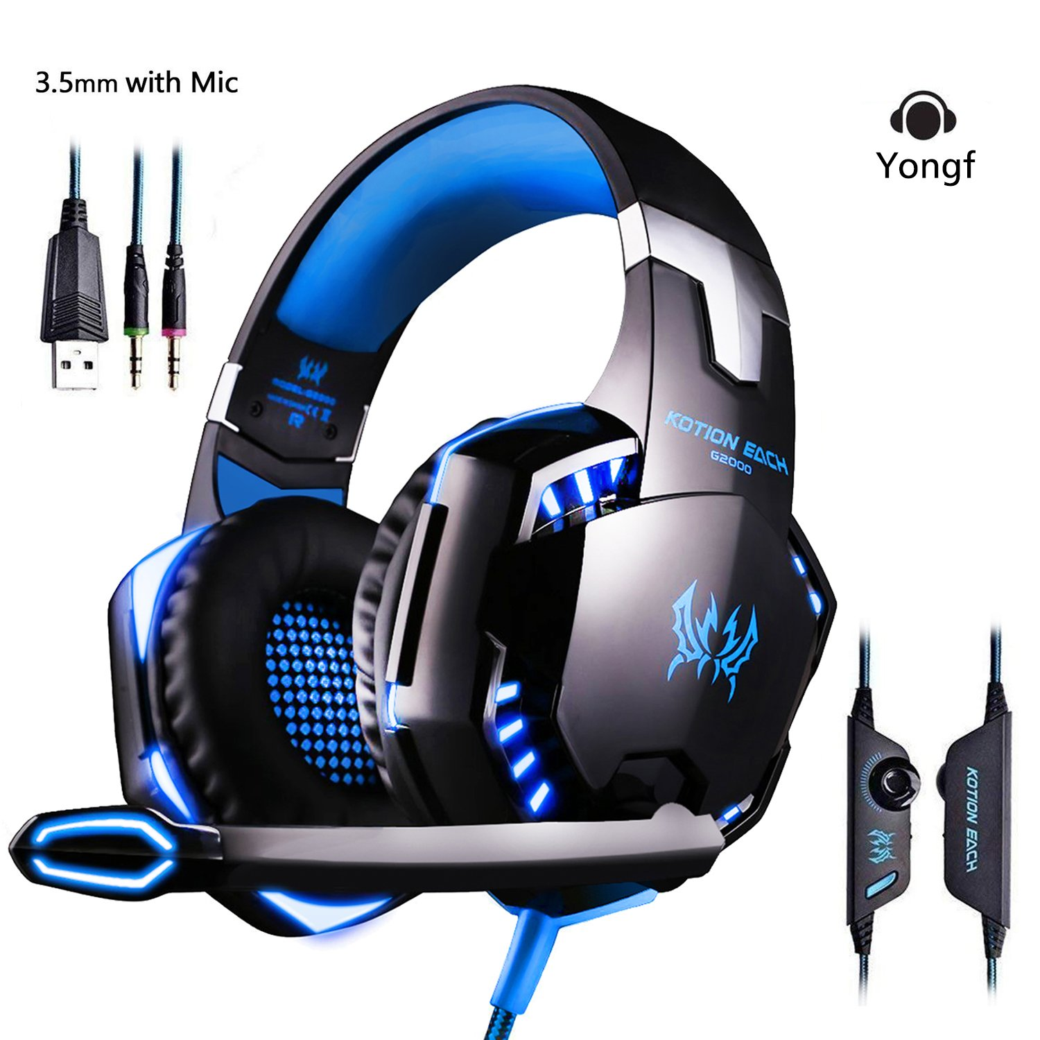 Stereo Gaming Headset Yongf G2000 for PS4 XBOX ONE Bass Over Ear Headphones with microphone LED Lights and Volume Control for PC, Mac, Laptop, iPad, Computer, Mobile phones – Blue (G2000 Blue)