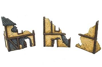 WWG Fantasy Village Set of 3 Ruined Houses – 28mm Medieval Wargaming