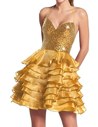 AiniDress Homecoming Dresses Short Organza Halter Sequin Cocktail Party Prom Dresses Gold Size 8