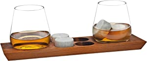 Godinger Whiskey Glasses and Chilling Rocks Whiskey Stones Bar Set on Wooden Display Tray