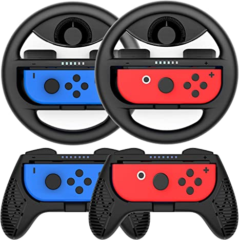 COODIO Volante y Grip Switch Joy-Con, Switch Joy-Con Racing Wheel Volante, Mandos Grip Joy-Con para Mario Kart Juegos / Joy-Con Mandos Nintendo Switch, Negro (Pack de 4 Deluxe): Amazon.es: Videojuegos