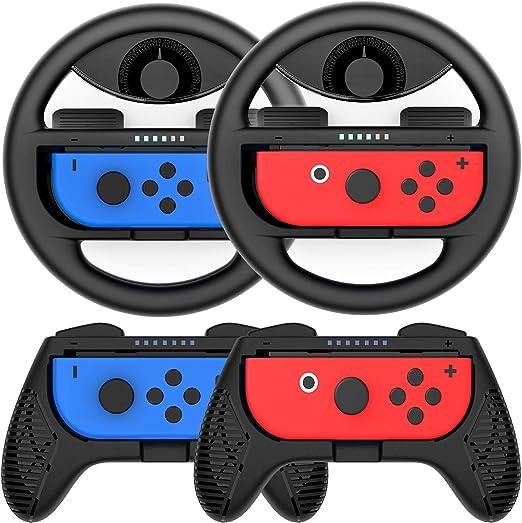 COODIO Volante y Grip Switch Joy-Con, Switch Joy-Con Racing Wheel ...