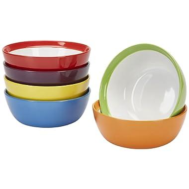Premium Ceramic Set of 6, Colorful Meal Stoneware (Breakfast Bowls)
