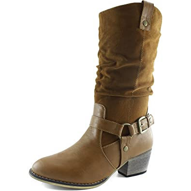 25a4e1d3431c DailyShoes Women s Slouch Mid Calf Ankle Strap Buckle Style Cowboy Boots