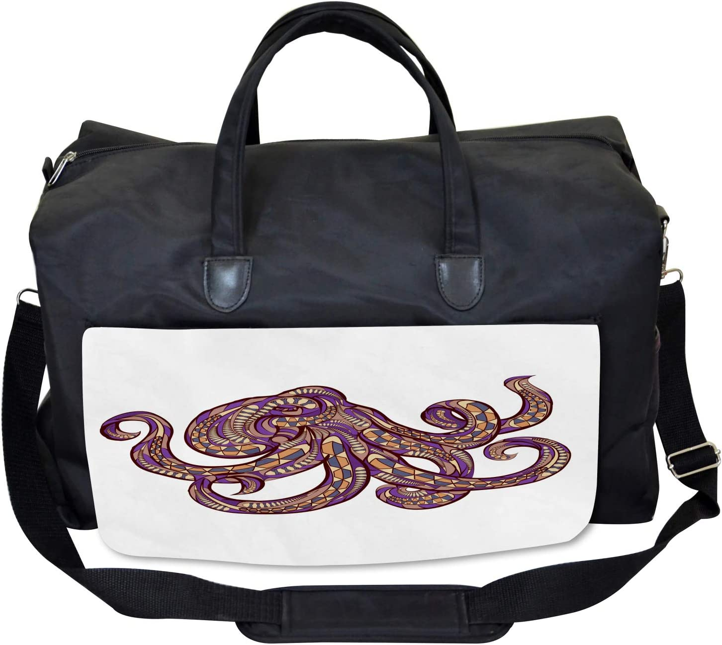 Large Weekender Carry-on Tribal Ethnic Patterns Ambesonne Octopus Gym Bag
