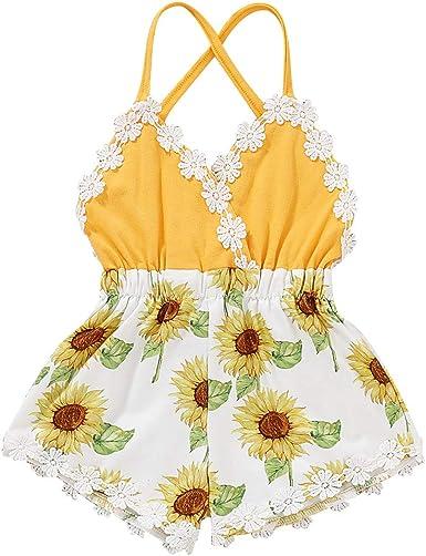Sunflower Digitally Printed Baby Bodysuit White Yellow Trim