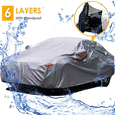 Big Ant Car Cover Waterproof Outdoor Sedan Cover Universal Fit Sedan Car Covers with Driver Door Zipper Up to 190 Inches-Gray: Automotive