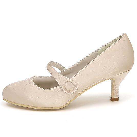 Elobaby Zapatos Mujeres De Las Boda Hebilla Tacones Gatito z4WzCq7xwf