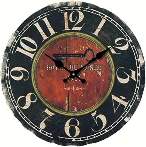 Eruner 14-inch Vintage LargeHotel Du Monde Decorative Wall Clock C-20