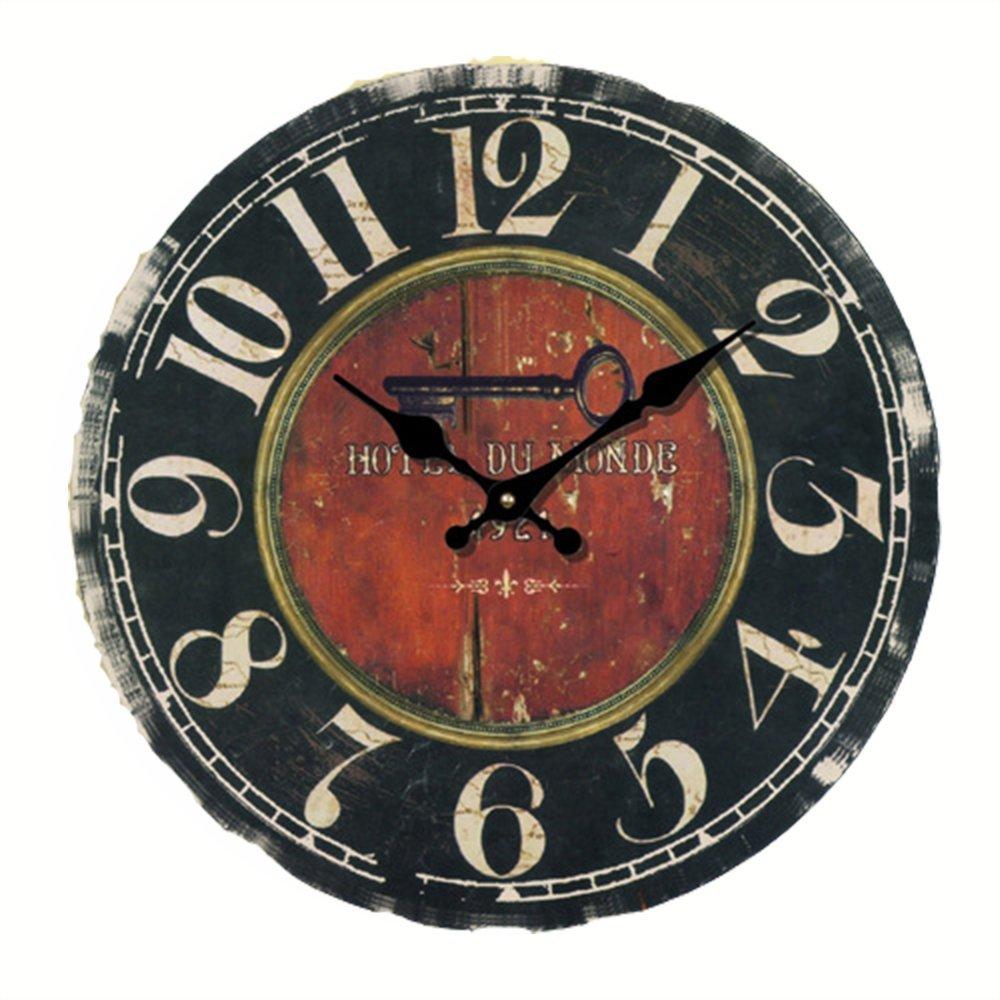 Vintage Rustikale Wanduhr, eruner French Paris Stil große Wanduhr London Country nicht aus Holz Uhr Zifferblatt Timer für Home Wohnzimmer Schlafzimmer Büro Cafe Bar Decor, holz, C-20, 14-in