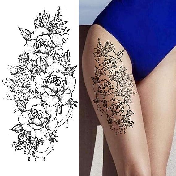 Tatuajes temporales de flores negras 3D pegatina realista tatuaje ...