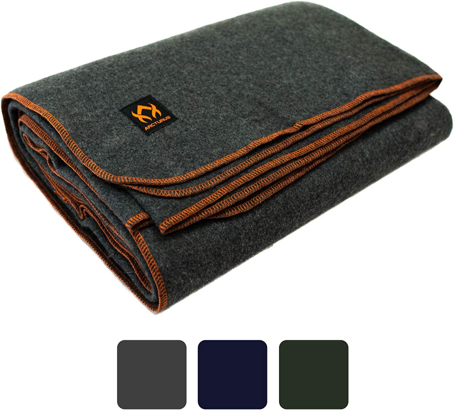 """Arcturus Military Wool Blanket - 4.5 lbs, Warm, Thick, Washable, Large 64"""" x 88"""" - Great for Camping, Outdoors, Survival & Emergency Kits (Military Gray) : Clothing"""