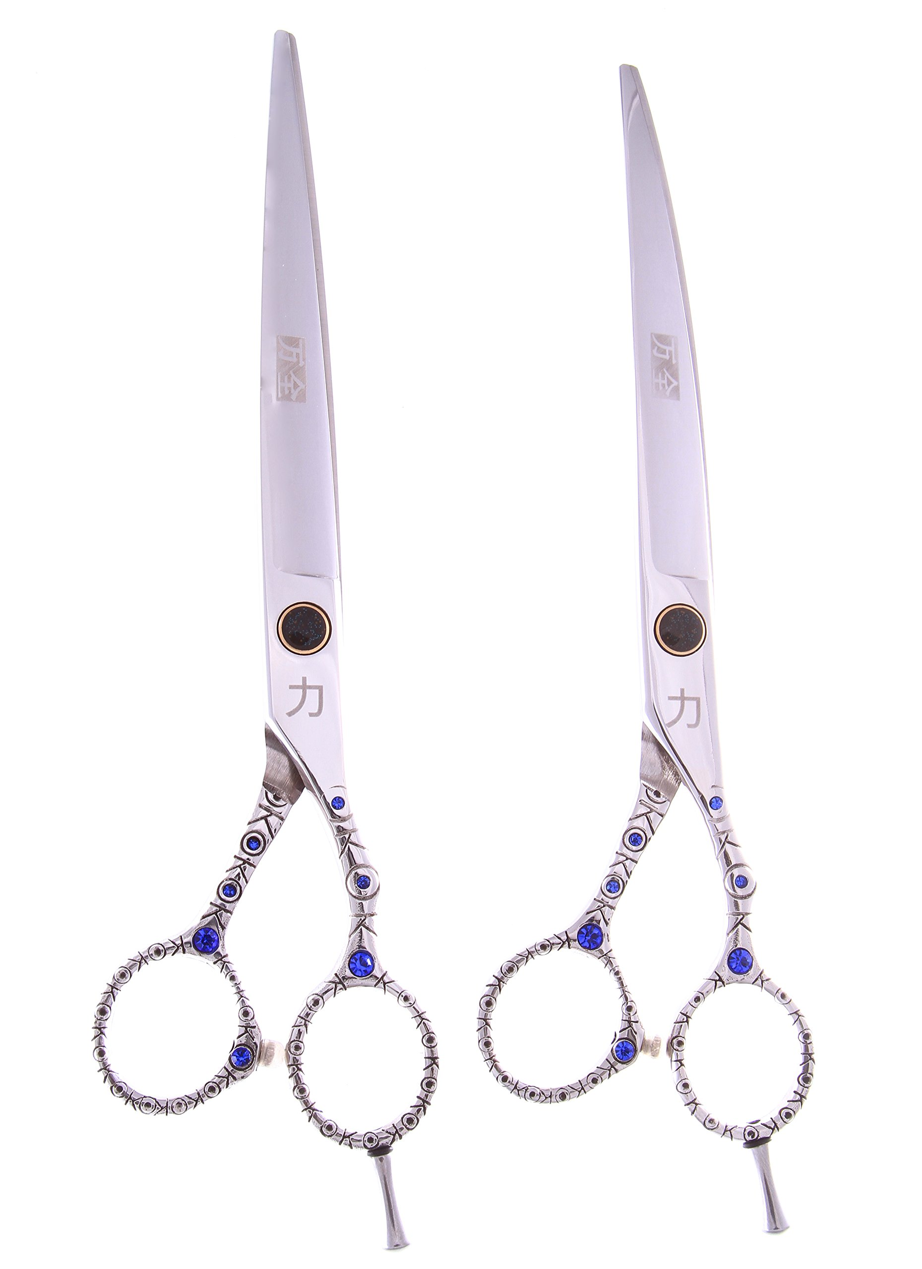 ShearsDirect Japanese 440C Stainless 2-Piece Straight and Curved Shear Set with Off Set Handle Design, 8-Inch