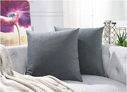 Black 20x20 Solid Pillow Cases Set for Farmhouse Bedroom Living Room Outdoor Indoor Decoration COMFORTLAND 2 Pack Decorative Throw Pillow Covers Square Soft Luxury Velvet Cushion Shams