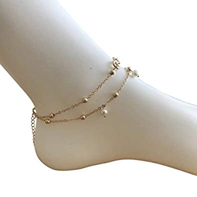 layered infinite bracelet amazon zealmer foot beads dp jewelry sequin gold beach com chain anklet