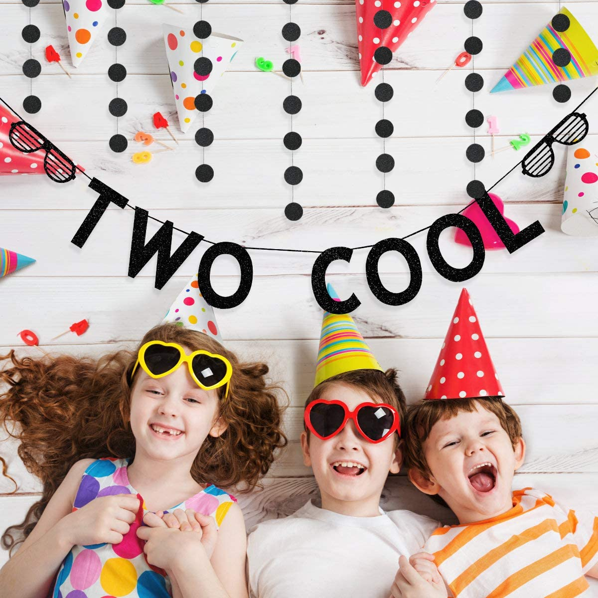 Black Glittery Two Cool Banner and Black Glittery Circle Dots Garland,2nd Birthday Party Banner Decorations