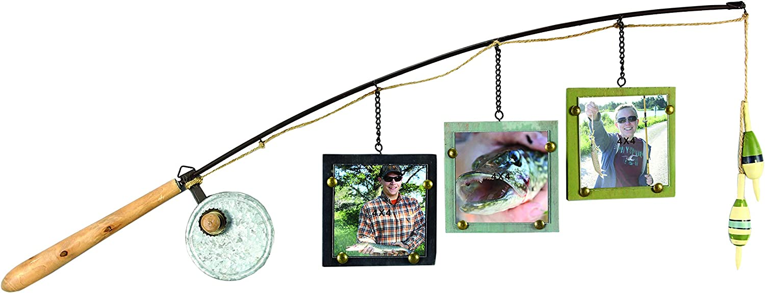 "Young's Wood Fishing Pole Triple Picture Frame, 4"" by 4"""