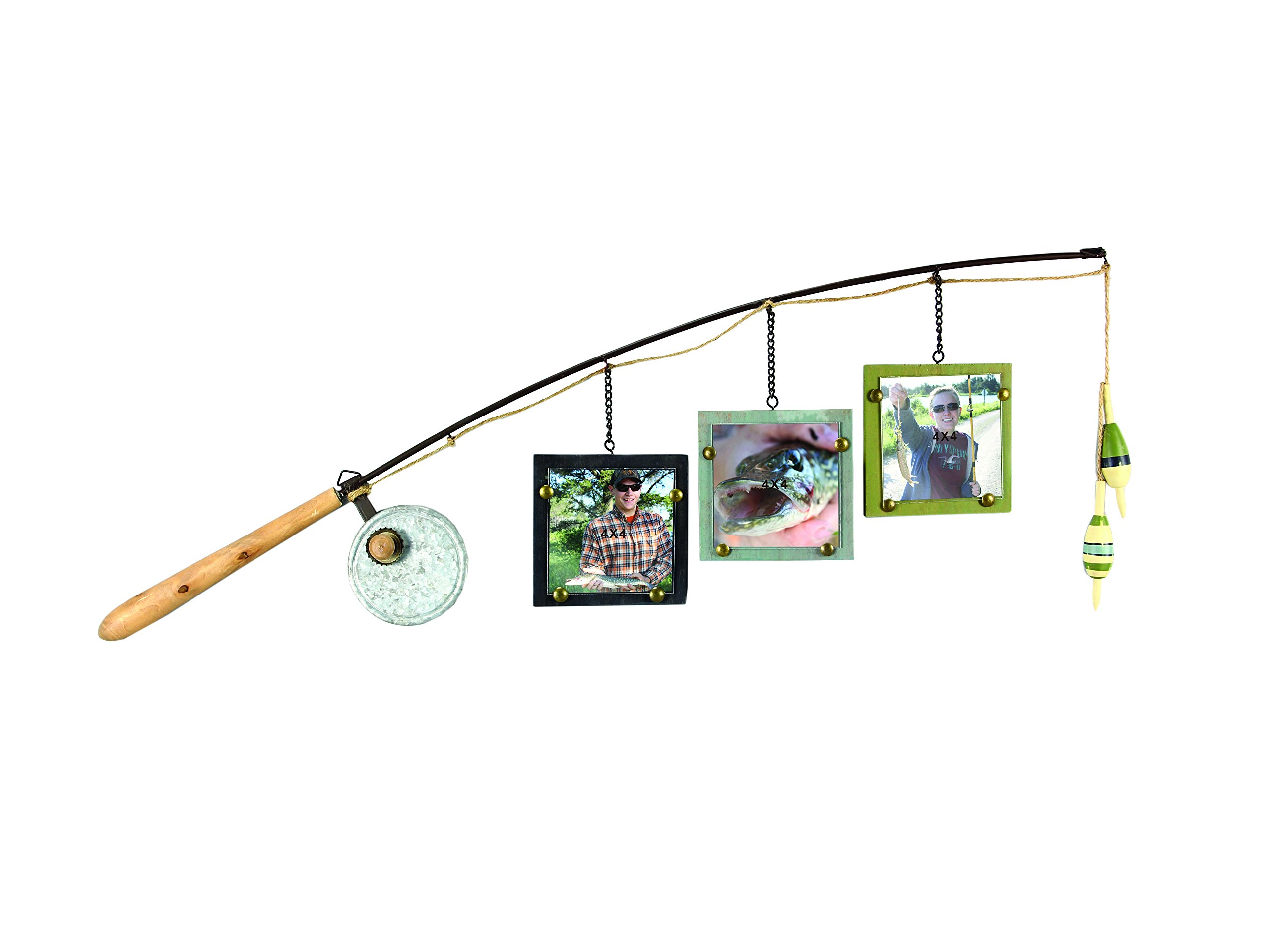 Young's Wood Fishing Pole Triple Picture Frame, 4'' by 4''