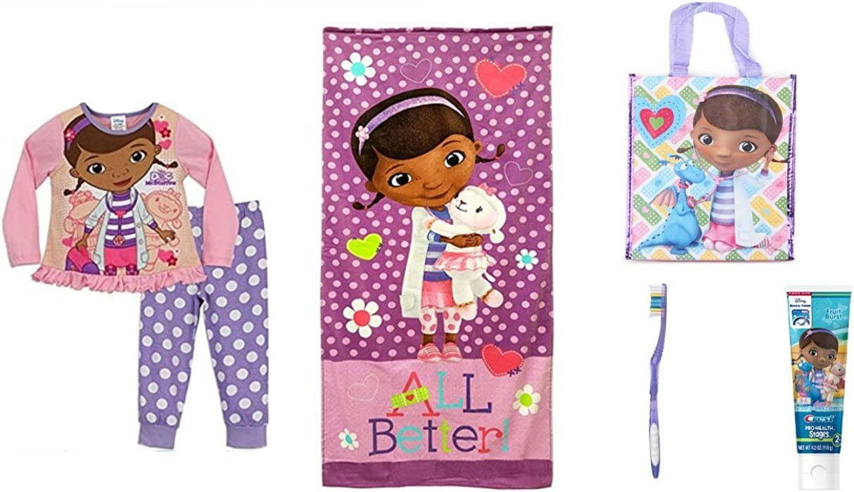 62a57b543d Amazon.com  Doc McStuffins Ready for Bedtime Set Pajamas Size 3-4 Years  Towel Tooth Brush Toothpaste   Tote Bag  Clothing