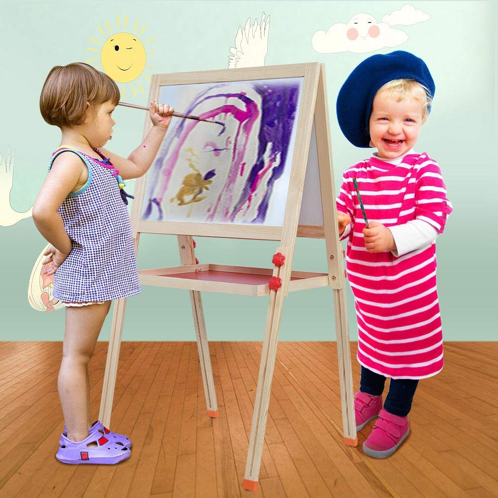 Great Gifts 58.5 x 57 x 9cm Adjustable Childrens Painting Drawing Board Panel Magnetic Standing Easel Zoternen Double-sided Wooden Drawing Board Easel