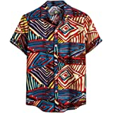 ♛2019 Clearance Sale♛ - Chamery Summer Shirt for MenMens Ethnic Short Sleeve Casual Cotton Linen Printing Hawaiian Shirt Blouse