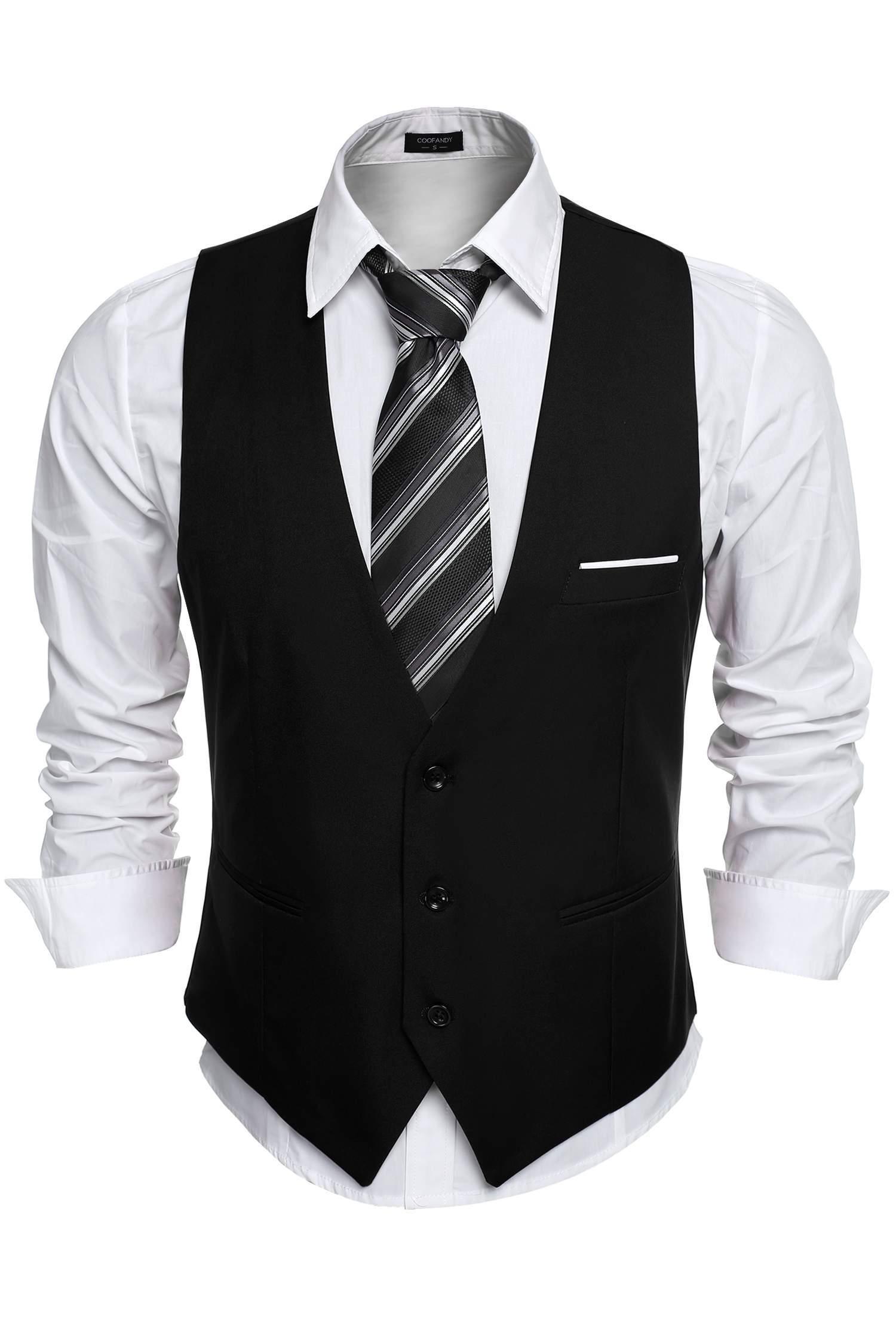 Loveje Men's Waistcoat Casual Sleeveless Slim Fit Vest Business Suit Dress Vest
