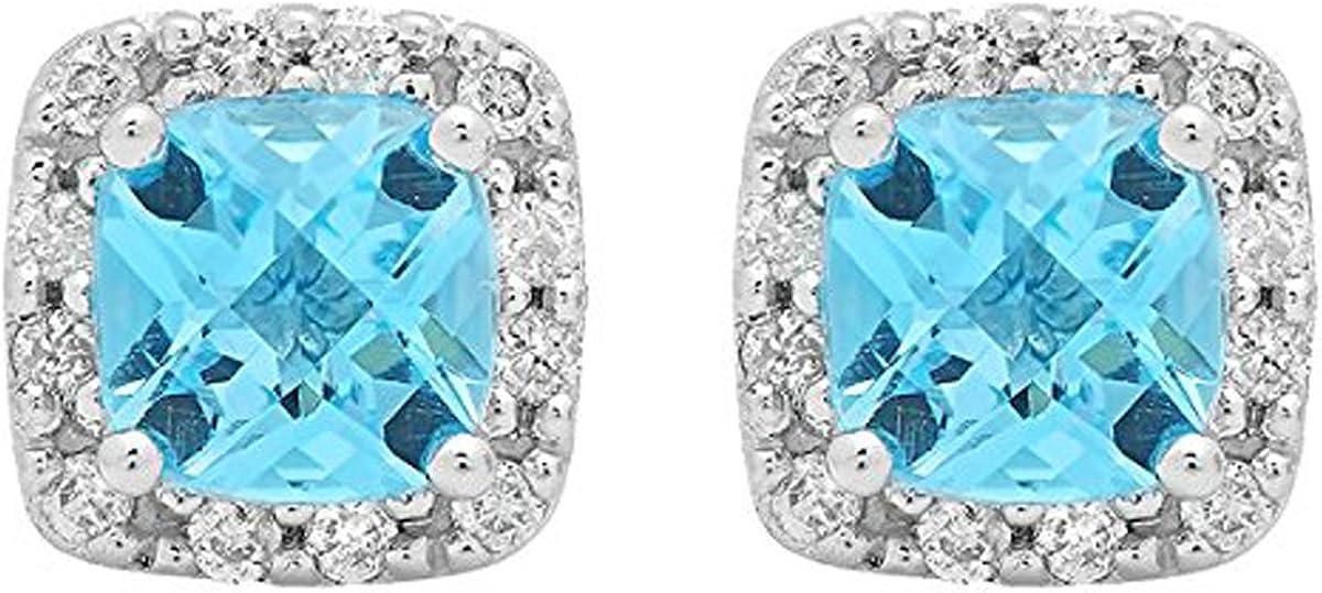 10K oro blanco Ronda de corte cojín azul topacio y blanco Diamond Ladies cuadrado marco de Halo Stud Pendientes