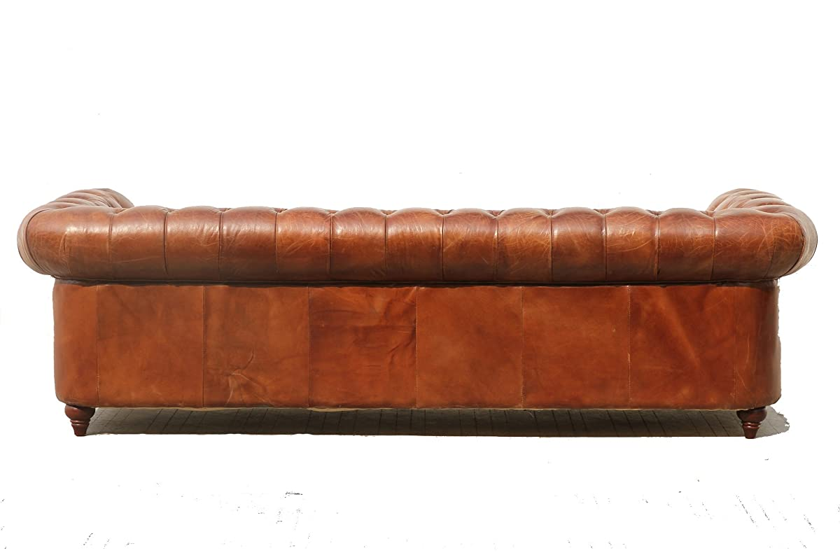"""Pasargad Carpets Chester Bay Genuine Leather Tufted Sofa, 3 2"""" x 8"""
