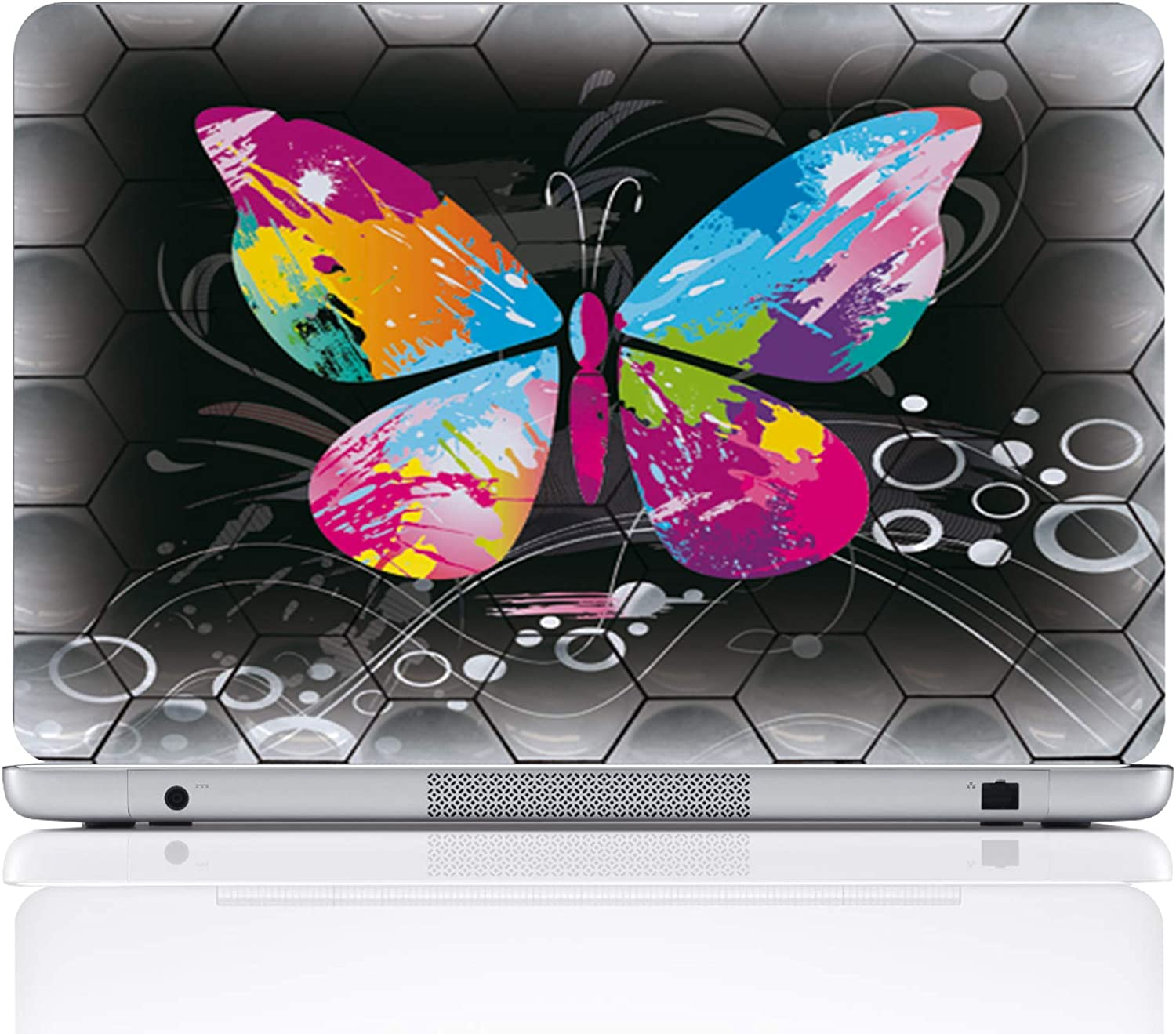 Meffort Inc 15 15.6 Inch Laptop Notebook Skin Sticker Cover Art Decal (Included 2 Wrist pad) - Big Colorful Butterfly