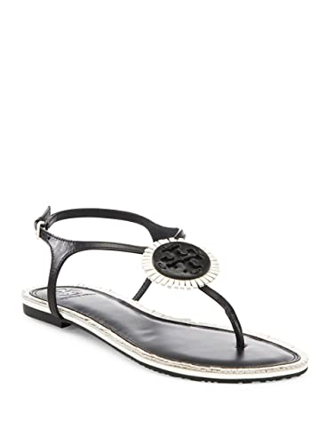 19937ffff Tory Burch Miller Logo Fringe Leather Flat T-Strap Sandal (Black Bleach)