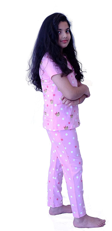 Hydes Girls Kids Night Suit Nightwear Cotton Printed Top and Pyjama Set