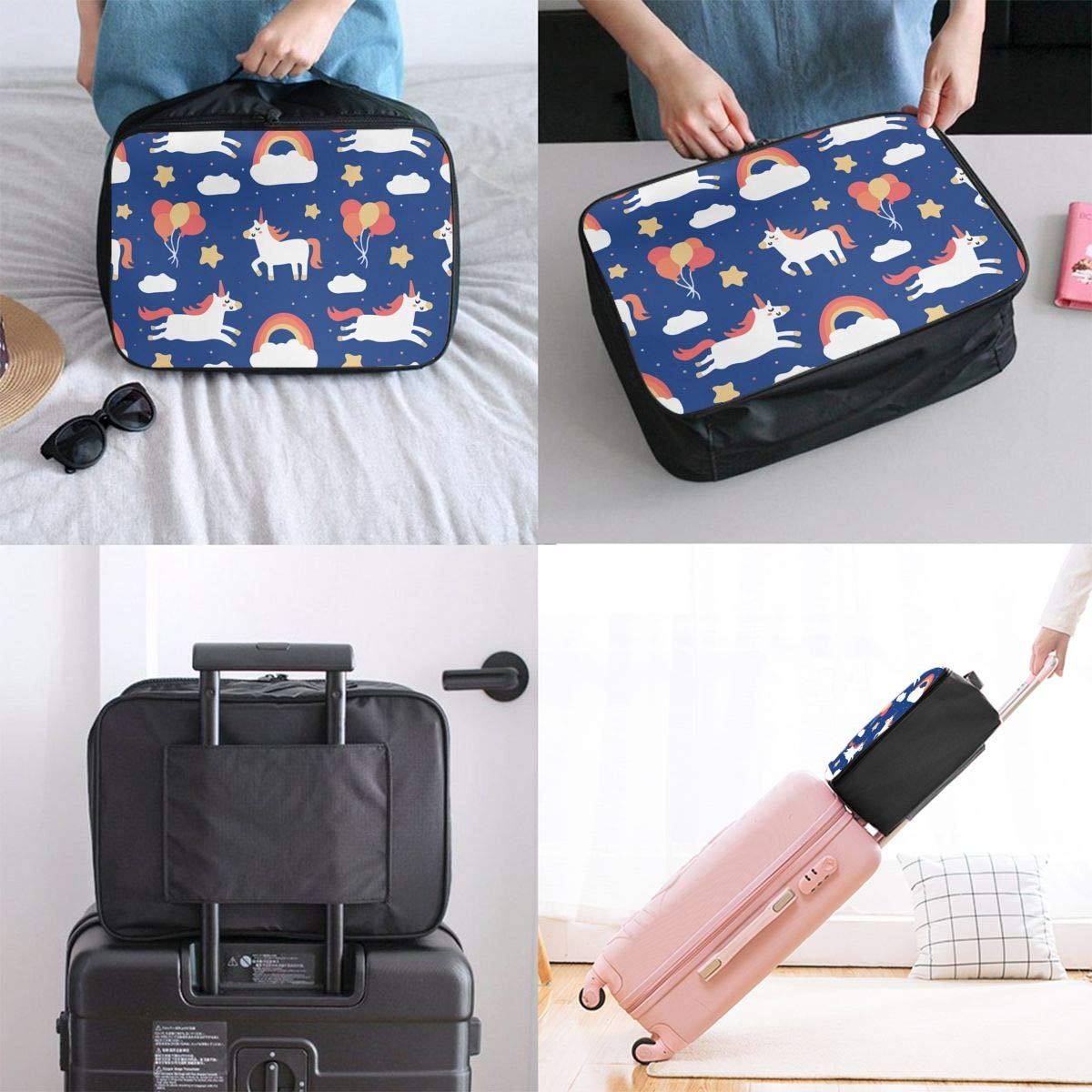 Tote Luggage Bag Sports Holiday Overnight Carry On Bag Time To Be A Unicorn Travel Duffle Bag In Trolley Handle Lightweight Weekender Bag Nylon Luggage Duffel Bag