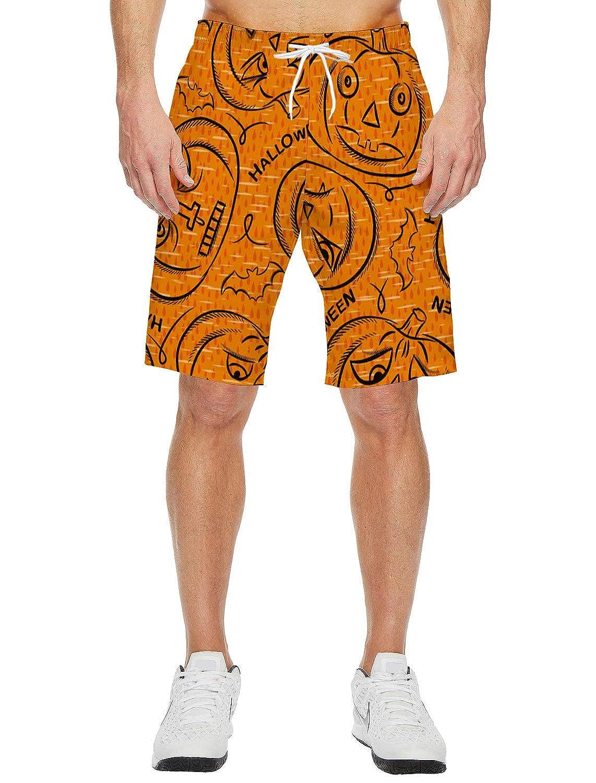 Mens Beach Shorts Horror Halloween Pumpkin Man Summer Casual Quick Dry Short Pants Stretch Swimming Trunks with Pocket