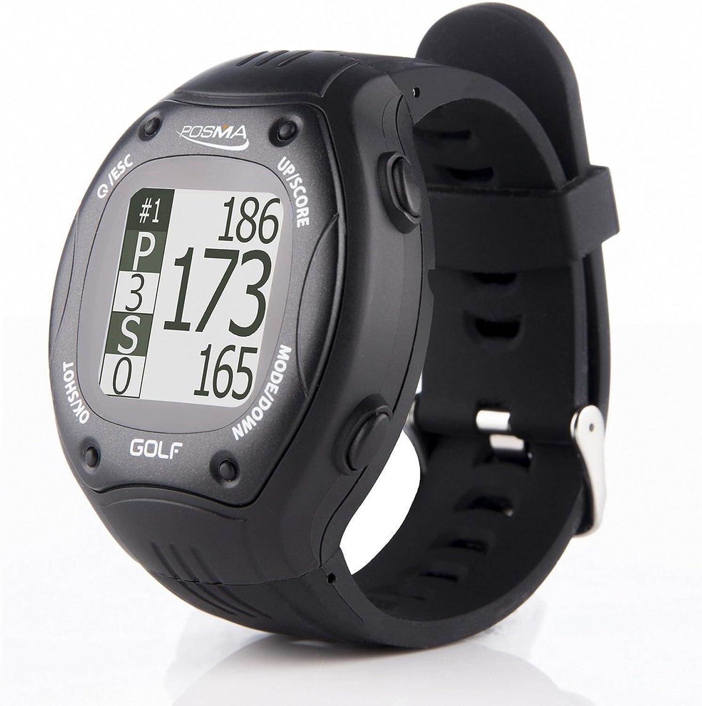 EBS Store POSMA GT1+ Golf Trainer GPS Golf Watch Range Finder, campos de golf precargados, sin descarga sin suscripción, negro