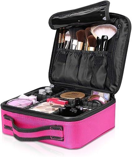 NICOLE & DORIS Bolsa de maquillaje portátil neceser de maquillaje Estuche Organizador de maquillaje Bolsa de cosmética Impermeable Rosa: Amazon.es: Belleza