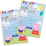 20 invitations de fête avec enveloppes - Peppa Pig