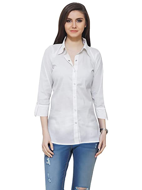 8c03337ed7aca Neu Look Women Full Sleeve Cotton Solid Casual Formal Shirt for Girls   Amazon.in  Clothing   Accessories