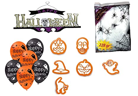 Kit Decorazioni e addobbi Festa di Halloween Party( 1 Festone - ragnatele  finte - 6 be7c3f99063d
