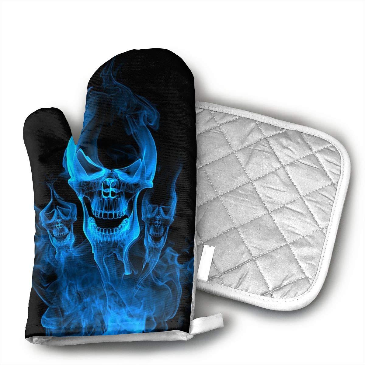 LOEBGF Blue Burnning Flame Skeleton Skull Head Oven Gloves Kitchen Gloves and Pot Holder 2 Pieces for Cooking, Baking, Barbecue