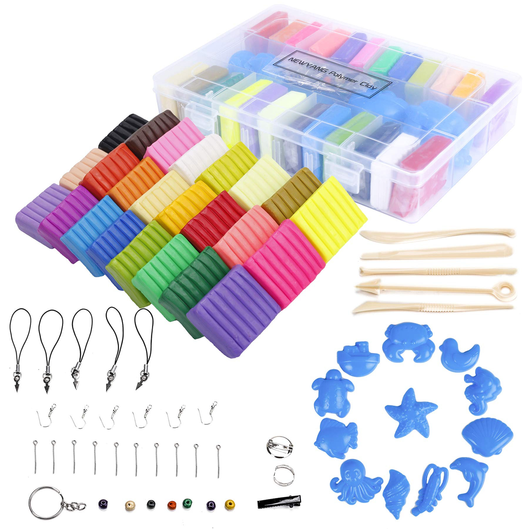 50 Colors Oven Bake Clay with 5 pcs Modeling Tools, YILAIDA Polymer Clay