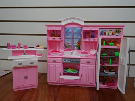 Amazon.com: Barbie Size Dollhouse Furniture - My Fancy Life Kitchen ...
