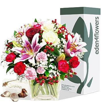 Eden4flowers Bouquet Di Fiori Con Cioccolatini Mazzo Di Fiori Per