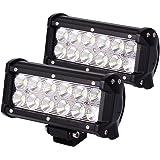 JAHURD Led Light Bar Flood, Pack of 2x36w 7inch Driving Light Off Road SUV ATV UTV 4x4 Wheeler Jeep Lights