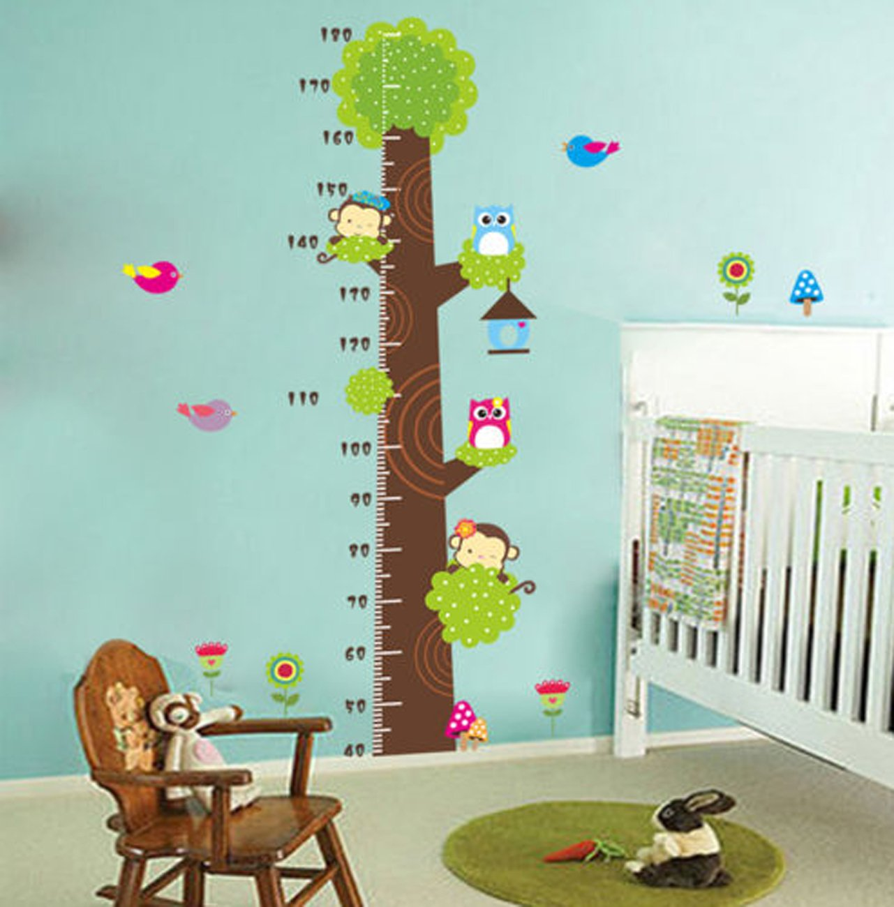 Monkey and Owls Wall Decal Removable Decor Sticker Height Measurement Growth Chart Tree for Boys & Girls Nursery Wall Playroom Children's Bedroom Decor (As the picture) GOODBEE