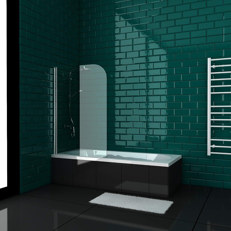 Alpenberger Symmetric - Bañera (170 x 80/180 x 80 cm, con mampara de ducha, nanorrevestimiento de doble cara de 5 mm de vidrio de seguridad (ESG) bañera rectangular de forma corporal, color