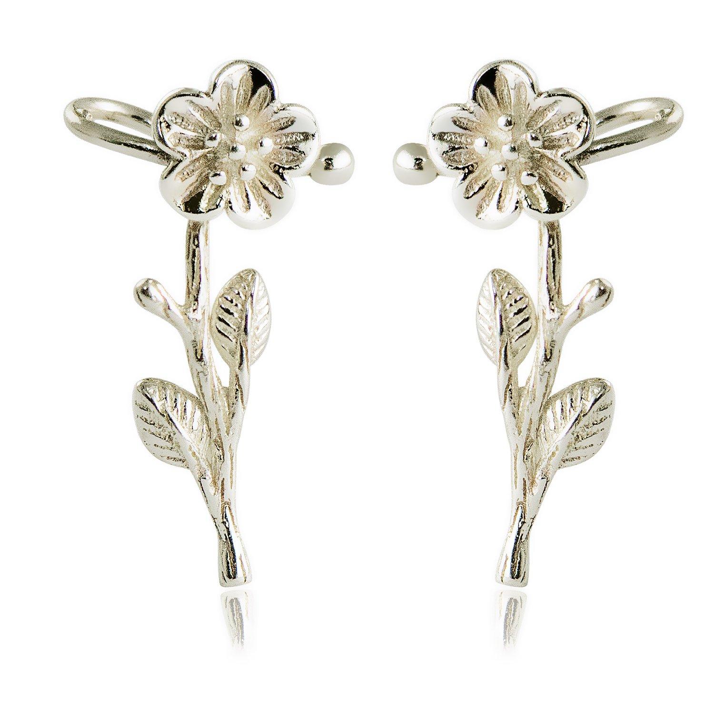CISHOP Flower Earrings Stud Ear Cuff Earrings Sterling Silver Ear Wrap Climber Earrings for Women