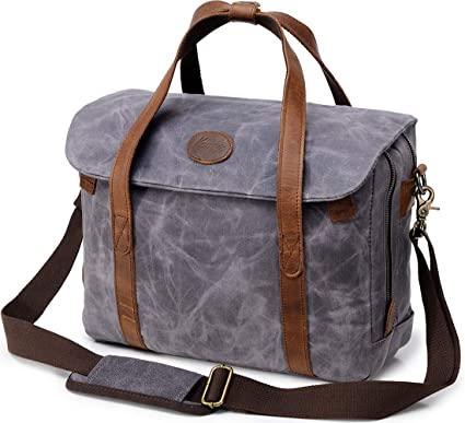 7b39540cd9a Image Unavailable. Image not available for. Color  Kemy s Mens Waxed Canvas  Briefcase 15.6 inch Leather Messenger Satchel Shoulder Strap Bag Gifts