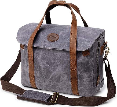 Mens Laptop Messenger Bag Waterproof Waxed Canvas Leather 14 inch Computer Briefcase  Shoulder Bag Women Vintage 33f80ecf2c