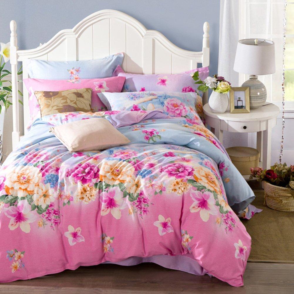 4個セット,コットン生地,刺繍,超低刺激性柔らかい絹のような高級印刷 1 掛け布団カバー, 1 ベッド シート, 2 枕カバー-N B07F69V17T Queen1|N N Queen1